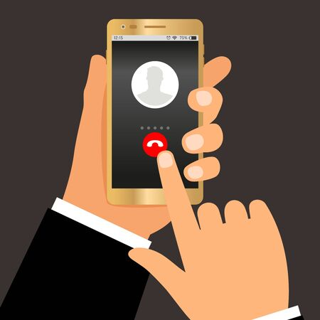 Businessman hands telephone call. Phone dialing or smartphone talk concept, incoming calling answer vector illustration