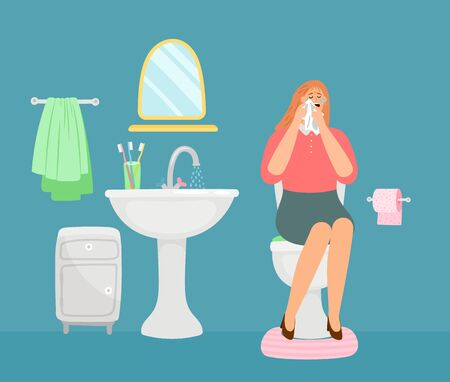 Woman crying in toilet room. Bathroom interior, WC vector illustration. Stressed woman character