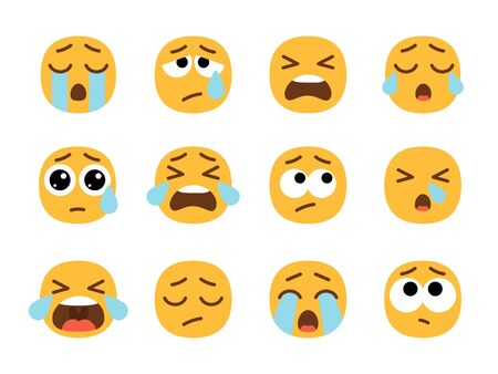Yellow crying emoji faces. Cry face set, vector crier emojies with tears, pain or sad emoticons, sadness or unhappy people symbols
