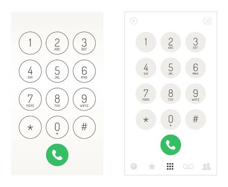 Smartphone dial keypad design. Mobile phone numbers panel, cellphones digital dialing communication screen, vector illustration