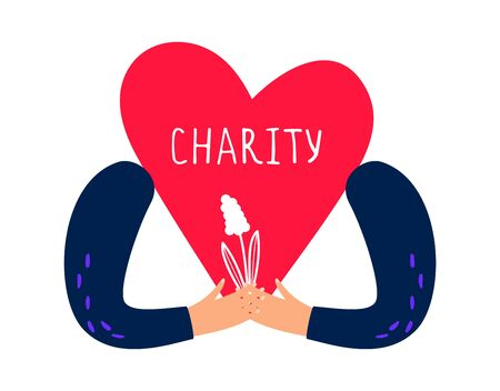 Charity concept. Hands holding heart and flower. Vector charity and donations illustration