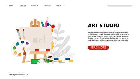 Art studio landing page. Art, painting tools vector web banner template. Brushes, paints, color pencil, easel elements 일러스트