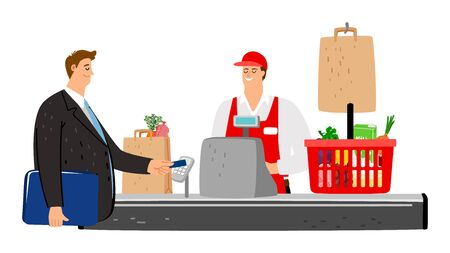 Cashier and buyer. Flat customer pays with credit card in store. Vector food basket, cashbox, smile cashier and businessman