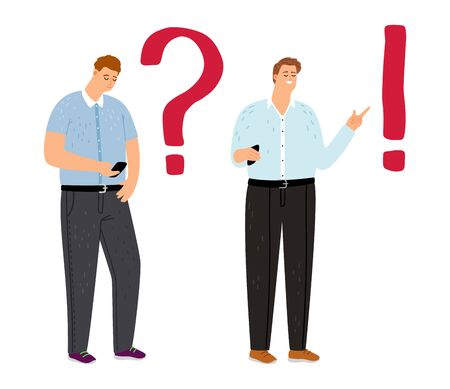 Problem solution concept. Troubled man student thinking, guy is looking information in smartphone. Vector dilemma, understand solution