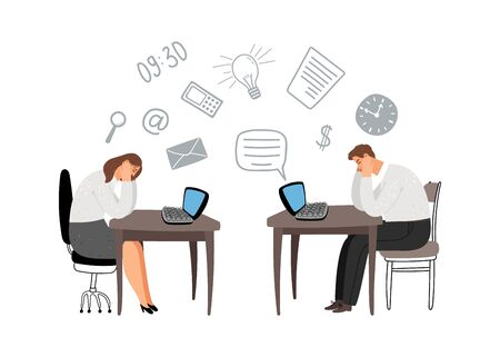 Overworked peopleillustration. Tired managers, deadline vector concept 일러스트