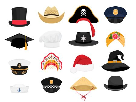 Carnival costumes hats. Fashion hat clothes accessory collectiorn, vintage police sheriff and traditional russian kokoshnik, witch and chef hats outfit