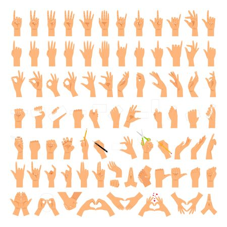 Woman hands and arms expressions. Women hand sign big set, ok and love heart, help handshake and press touch, praying and meditation, good and small