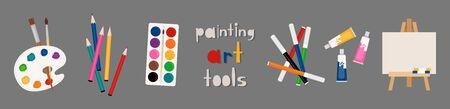 Painter art tools. Paint arts tool kit vector illustration, vector watercolor painting design artists supplies, brushes easel palette felt-tip pens