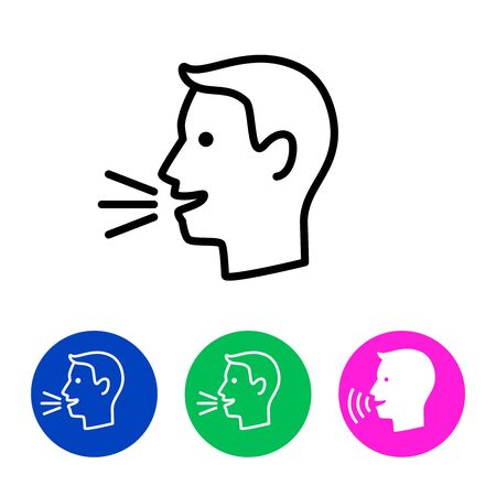Man talk control. Speak out icon concept, vector lines speaking symbol, linear man voice or speech person sign, talking dictator face website button