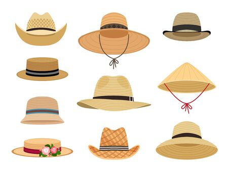 Farmers gardening hats. Asian japan hat and and female straw cap, yellow beach head accessory and summer traditional agriculture rural headdress isolated on white background 일러스트