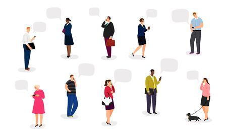 People with smartphones. Businesspeople talk on phones vector illustration. International women and men with modern gadgets, communication concept
