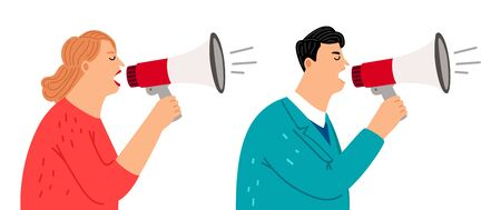 People with megaphone. Social media marketing, promoters vector characters. Screaming man and woman avatars