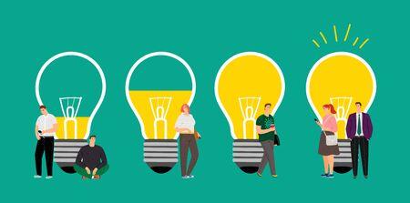 Desarrollo de ideas. Reunir a las personas, crear un equipo de negocios para una idea interesante. Personajes de dibujos animados planos vectoriales. Ilustración de pensamiento creativo