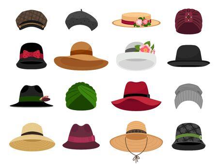 Cappelli e berretti femminili. Berretto da vacanza da donna e illustrazioni vettoriali di cappello, cofano e panama, tipi di testa da donna tradizionali, berretto alla moda e accessori per pannolini