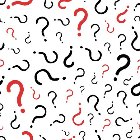 Question marks seamless pattern. Vector doodle question marks background