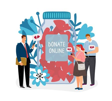 Donations. Donate online vector illustration. Charity concept with flat cartoon characters and jar of hearts Illustration