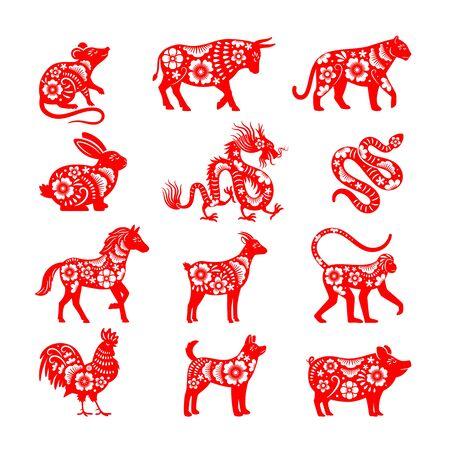 Illustrazioni tradizionali dello zodiaco cinese. Simboli animali dell'oroscopo cinese di vettore, vettori di toro e topo, maiale e drago per papercut