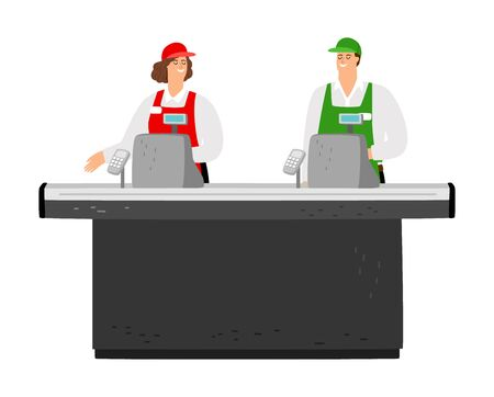 Free cash desk. Happy cashiers vector characters. Supermarket staff, empty cash desk isolated on white background