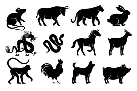 Chinese horoscope silhouettes. Chinese zodiac animals symbols of year, black signs on white background, tiger and rabbit, bull and dragon mythology drawings