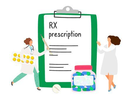 RX prescription concept. Doctors and pills. Vector rx prescription illustration, cartoon pharmacists and medicines