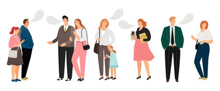 Communication vector illustration. Flat people talk and laugh. Vector characters with kids and pets