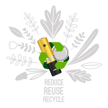 Battery reuse and recycle. Electronic equipment batteries recycling concept, electronics waste reduce vector illustration 일러스트