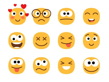 Fun smile emoticons faces. Flat happy and enamored, wonder and laughing, confused and shocked funny emoji face set