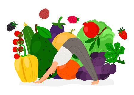 Man doing yoga. Fresh food diet, vegan lifestyle. Vector vegetables and fruits, sporty guy illustration 일러스트