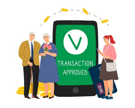 Transaction approved. Caring for parents. Mobile banking, money transfer. Girl transfers money to elderly vector concept