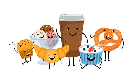 Coffee time. Cute morning drink and desserts. Isolated take away coffee, muffin and ice cream vector characters