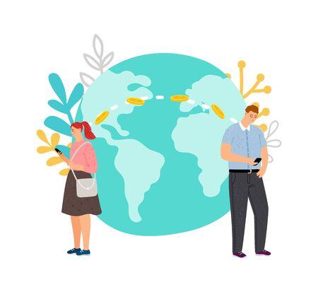 International money transfer. Guy transfers money to girl using mobile bank vector illustration