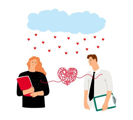 Couple in love heart bound. Enamored romance couple characters, rain hearts. St. Valentines Day vector illustration