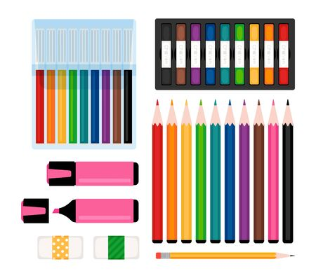 Art tools collection. Markers, color pencils and erasers, felt-tip pens and highlighter. Stationery vector illustration Illustration