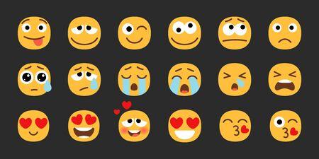 Emoji set. Joyful, sad and love emoticons. Yellow emotional faces. Vector smily symbols collection