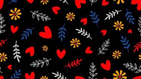Romantischer Hintergrund. Nahtloses Muster mit Herzen und floralen Elementen. Gekritzelzweige, Blumenvektorbeschaffenheit