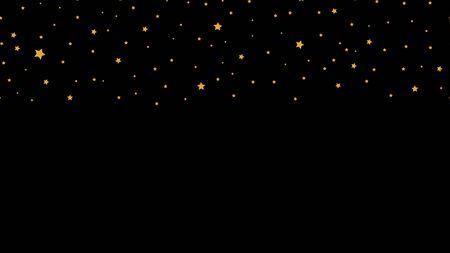Falling stars. Golden star seamless border. Vector festive banner template