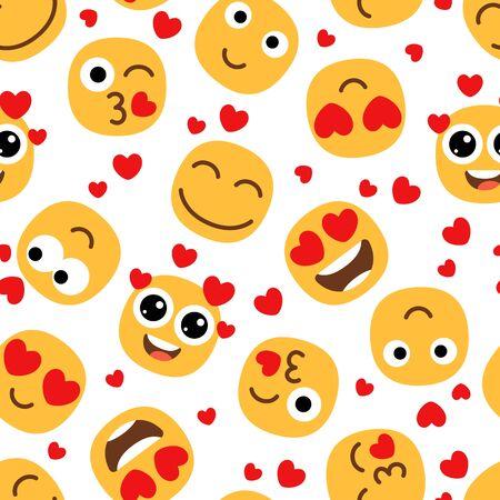 Love emojis seamless pattern. Cute happy emoticons background. St Valentine day vector texture 일러스트