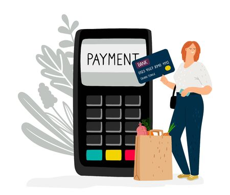 Electronic money. Girl pays for purchases by credit or debit card. Online cashless payment vector illustration