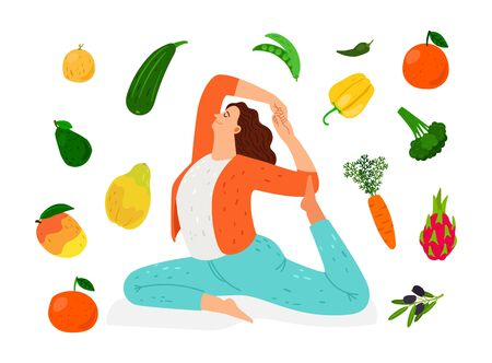 Woman doing yoga. Meditation, healthy lifestyle and vegan diet vector illustration 일러스트