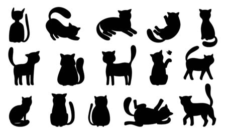 Funny cat silhouettes. Black cats play and hunt, lie and jump. Vector funny meowing kittens silhouette set isolated on white background 일러스트