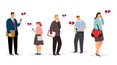 Distance love. Flat cartoon characters with smartphones. Adults communicate by phone. Men and women in love vector set