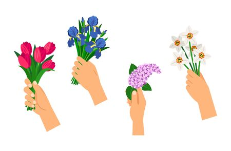 Hands holding bouquets. Spring flowers, isolated gift bouquet vector set