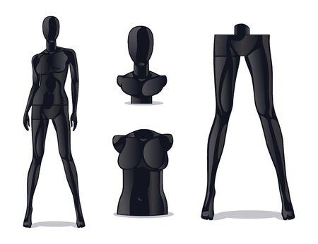 Weibliche Schaufensterpuppe aus Kunststoff. Frauenmodellpuppe für Modegeschäft. Isolierte schwarze Mädchenpuppe für Kleidungsvektorset vector Vektorgrafik