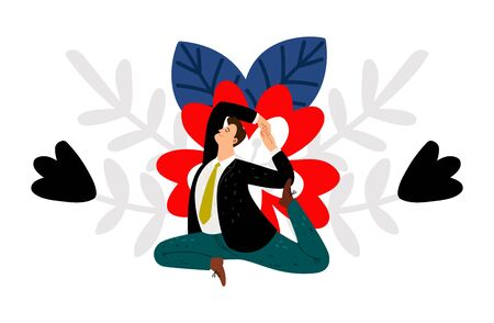 Male yoga. Businessman does yoga exercises. Keep calm, meditation and relaxation for creative thinking vector illustration