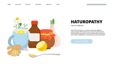 Naturopathy landing page. Traditional medicine, homeopathy. Natural treatment vector banner Ilustracja