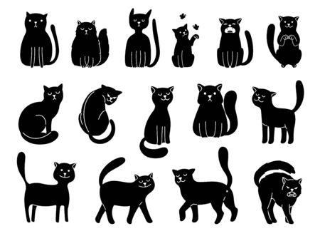 Cats silhouettes on white. Elegant cat icons, funny cartoon curiosity black animal collection vector illustration isolated on white background Ilustração