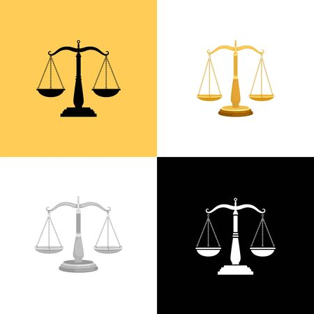 Court scales set. Justice balance symbols and lawyers equality signs, judge scale vector silhouettes, lawfulness and judgement icons