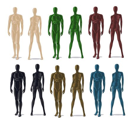 Plastic mannequins. Men and women model dolls for clothes. Isolated colorful dummy for fashion store vector set