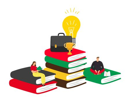 Self education concept. Reading and success, business trainings, fascinating books. People read and succeed vector illustration Vector Illustration