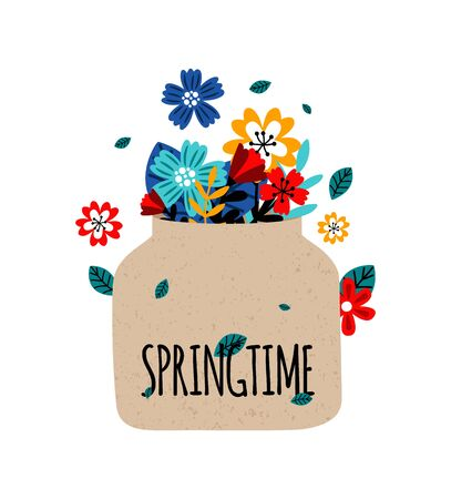 Flowers bouquet. Floral jar, springtime concept. Colorful blossom plant, gardening vector illustration